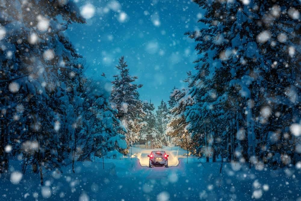 Van in snowstorm